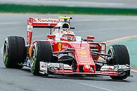 March 18, 2016: Kimi Raikkonen (FIN) #7 from the Scuderia Ferrari team rounds turn 2 during practise session one at the 2016 Australian Formula One Grand Prix at Albert Park, Melbourne, Australia. Photo Sydney Low