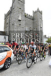 Cyclists pass Ardee Castle at the start stage 8 of An Rás 2017. Photo:Colin Bell/pressphotos.ie