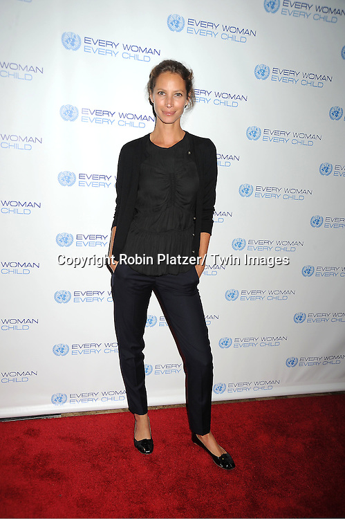 Christy Turlington Burns attends the Every Woman, Every Child MDG Reception on September 20, 2011 at The Grand Hyatt Hotel in New York City.