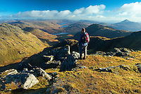Ben Lomond and a distant Loch Arklet from Beinn Ime, the Arrochar Alps, Loch Lomond and the Trossachs National Park, Argyll & Bute