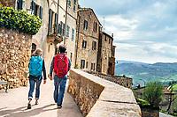 Walking through the Italian hilltop town of Pienza, Italy