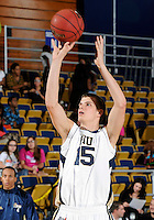 Florida International University center Gilles Dierickx (15) plays against Florida Memorial University in an exhibition game .  FIU won the game 86-69 on November 9, 2011 at Miami, Florida. .