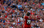 Liverpool's Sadio Mane gestures to the home fans during the premier league match at Anfield Stadium, Liverpool. Picture date 27th August 2017. Picture credit should read: Paul Thomas/Sportimage