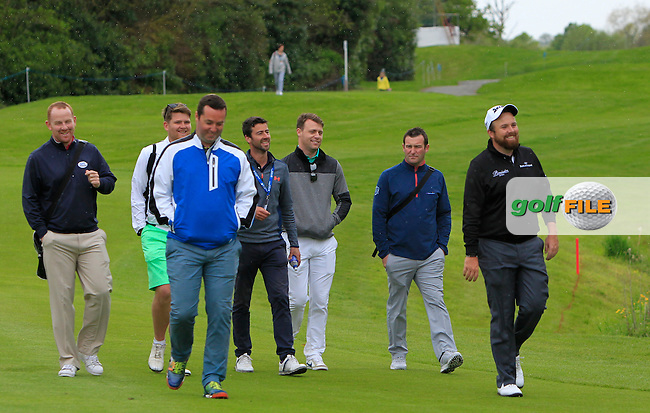 Shane Lowry (IRL) with some of his pals on the 13th during Tuesday's Practice round of the Dubai Duty Free Irish Open Trophy at The K Club, Straffan, Co. Kildare<br /> Picture: Golffile | Thos Caffrey<br /> <br /> All photo usage must carry mandatory copyright credit <br /> (&copy; Golffile | Thos Caffrey)