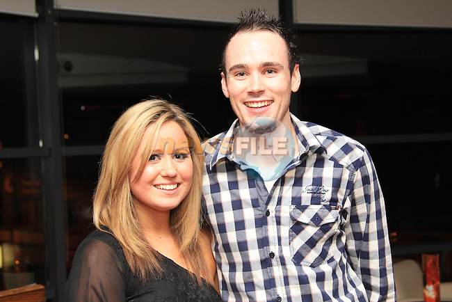 Lara Jolley and Stephen Carter in Bru, for their going away party, before the depart for Melbourne together..Picture: Shane Maguire / www.newsfile.ie.
