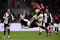 penalty hand foul of Davide Calabria of AC Milan on Cristiano Ronaldo of Juventus <br /> Milano 13/02/2020 Stadio San Siro <br /> Football Italy Cup 2019/2020 <br /> AC Milan - Juventus FC <br /> Photo Federico Tardito / Insidefoto