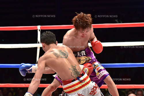 (T-B) Ryoichi Taguchi (JPN), Kwanthai Sithmorseng (THA),<br /> MAY 6, 2015 - Boxing :<br /> Ryoichi Taguchi of Japan knocks down Kwanthai Sithmorseng of Thailand in the fifth round during the WBA light flyweight title bout at Ota-City General Gymnasium in Tokyo, Japan. (Photo by Hiroaki Yamaguchi/AFLO)