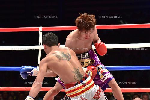 (T-B) Ryoichi Taguchi (JPN), Kwanthai Sithmorseng (THA),<br /> MAY 6, 2015 - Boxing :<br /> Ryoichi Taguchi of Japan knocks down Kwanthai Sithmorseng of Thailand in the fifth round during the WBA light flyweight title bout at Ota-City General Gymnasium in Tokyo, Japan. (Photo by Hiroaki Yamaguchi/AFLO)