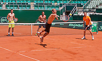 "Austria, Kitzbuhel, Juli 15, 2015, Tennis, Davis Cup, Training Dutch team play ""touch"" on the end of their practise ltr: Robin Haase, Jesse Huta Galung, Thiemo de Bakker and captain Jan Siemerink<br /> Photo: Tennisimages/Henk Koster"