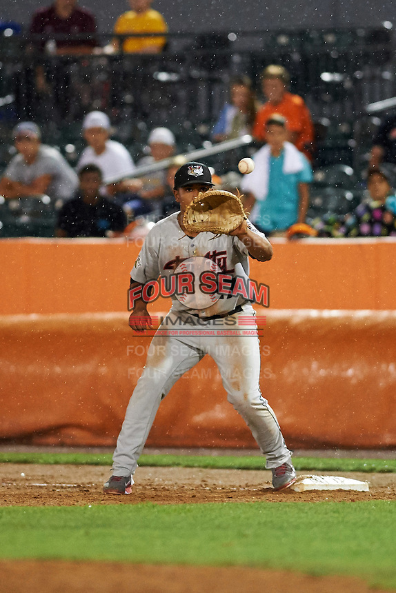 Tri-City ValleyCats first baseman Dexture McCall (27) catches the second out of the bottom of the ninth inning during a game against the Aberdeen Ironbirds on August 6, 2015 at Ripken Stadium in Aberdeen, Maryland.  Tri-City defeated Aberdeen 5-0 in a combined no-hitter.  (Mike Janes/Four Seam Images)