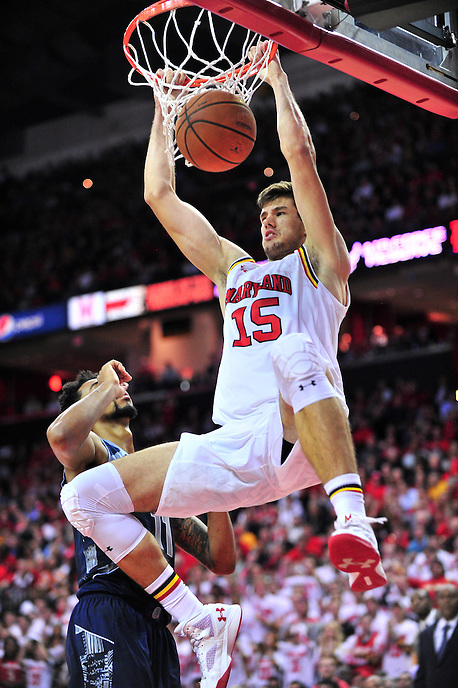 Michal Cekovsky of the Terrapins gets a dunk. Maryland defeated Georgetown 75-71 during a game at Xfinity Center in College Park, MD on Wednesday, November 17, 2015.  Alan P. Santos/DC Sports Box