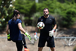 CARY, NC - MAY 10: Courage assistant coach Nathan Thackeray (right) with Sabrina D'Angelo (left). The North Carolina Courage held a training session on May 10, 2017, at WakeMed Soccer Park Field 7 in Cary, NC.