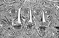 Berlino, resti del Muro (East Side Gallery). Volti psichedelici --- Berlin, remains of the Wall (East Side Gallery). Psychedelic faces