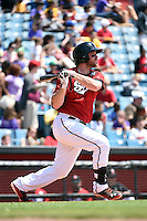 Nashville Sounds first baseman Hunter Morris (25) at bat during a game against the Omaha Storm Chasers on May 20, 2014 at Herschel Greer Stadium in Nashville, Tennessee.  Omaha defeated Nashville 4-1.  (Mike Janes/Four Seam Images)