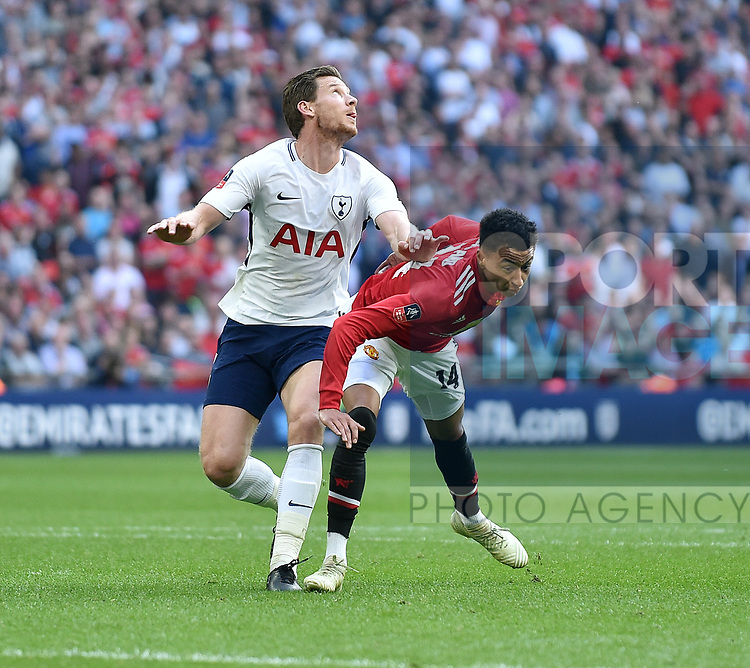 Jan Vertonghen of Tottenham Hotspur pushes Jesse Lingard of Manchester United in the back during the FA cup semi-final match at Wembley Stadium, London. Picture date 21st April, 2018. Picture credit should read: Robin Parker/Sportimage