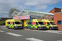 Ambulances outside hoospital Emergency Department