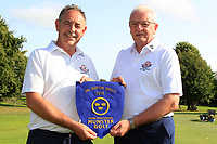 Ger Cullinane Kinsale Team captain presents the AIG Barton Shield Munster Pennant to Kinsale Club Captain Brian Doran after Kinsale won the AIG Barton Shield Munster Final 2018 at Thurles Golf Club, Thurles, Co. Tipperary on Sunday 19th August 2018.<br /> Picture:  Thos Caffrey / www.golffile.ie<br /> <br /> All photo usage must carry mandatory copyright credit (&copy; Golffile | Thos Caffrey)