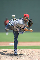 """Former Red Sox pitcher Daniel Bard pitches in a """"Sandlot""""-style game concluding a series of workouts with local MLB and MiLB players from around the Upstate region on Thursday June 25, 2020, at Fluor Field at the West End in Greenville, South Carolina. Bard played for the Greenville Drive in 2007-2008, then Boston for five years and is now attempting a comeback with the Rockies. (Tom Priddy/Four Seam Images)"""