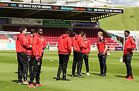 Fleetwood Town players inspect the pitch on arrival at the Sixfields Stadium<br /> <br /> Photographer Andrew Kearns/CameraSport<br /> <br /> The EFL Sky Bet League One - Northampton Town v Fleetwood Town - Saturday August 12th 2017 - Sixfields Stadium - Northampton<br /> <br /> World Copyright &copy; 2017 CameraSport. All rights reserved. 43 Linden Ave. Countesthorpe. Leicester. England. LE8 5PG - Tel: +44 (0) 116 277 4147 - admin@camerasport.com - www.camerasport.com