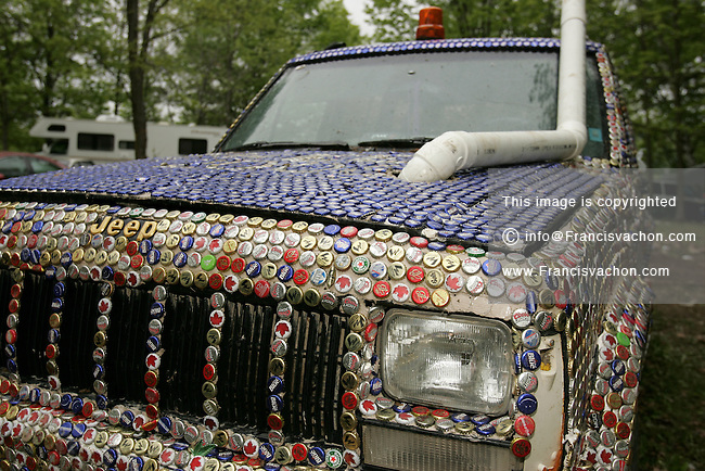A beer-caps decorated car at the 2006 annual Victoria Day Weekend at Trudeau Park in Tweed, Ontario