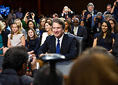 Judge Brett Kavanaugh is surrounded by photographers as he waits to testify before the United States Senate Judiciary Committee on his nomination as Associate Justice of the US Supreme Court to replace the retiring Justice Anthony Kennedy on Capitol Hill in Washington, DC on Tuesday, September 4, 2018.<br /> Credit: Ron Sachs / CNP<br /> (RESTRICTION: NO New York or New Jersey Newspapers or newspapers within a 75 mile radius of New York City)