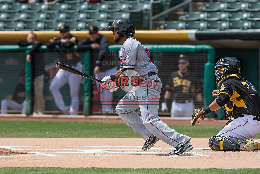 Darren Ford (14) of the Sacramento River Cats at bat against the Salt Lake Bees in Pacific Coast League action at Smith's Ballpark on May 01, 2016 in Salt Lake City, Utah. Sacramento defeated Salt Lake 16-6.  (Stephen Smith/Four Seam Images)