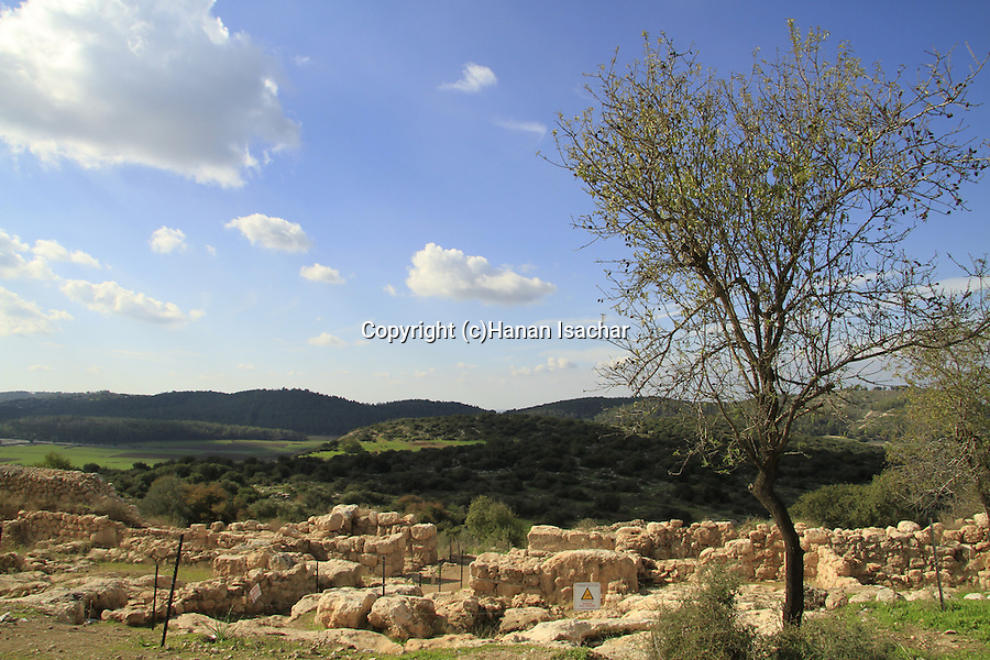 Israel, Shephelah, the western gate complex of Khirbet Qeiyafa, one of the two gates of the Iron Age settlement from the 11th century BC