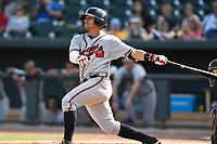 Left fielder Anthony Concepcion (23) of the Rome Braves bats in a game against the Columbia Fireflies on Sunday, July 2, 2017, at Spirit Communications Park in Columbia, South Carolina. Columbia won, 3-2. (Tom Priddy/Four Seam Images)