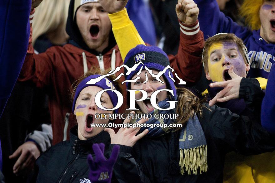 NOV 10, 2012: Washington fans showed their team spirit through out the game against Utah.  Washington won 34-15 over Utah at CenturyLink Field in Seattle, WA...