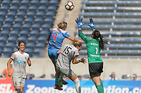Bridgeview, IL - Saturday May 27, 2017: Alyssa Mautz, Jaelene Hinkle, Sabrina D'Angelo during a regular season National Women's Soccer League (NWSL) match between the Chicago Red Stars and the North Carolina Courage at Toyota Park. The Red Stars won 3-2.