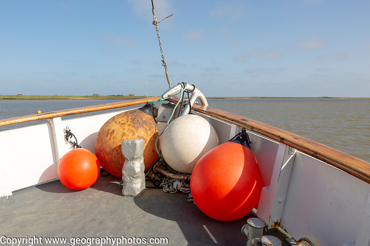 Lady Florence boat trip cruise River Ore, Orford Ness, Suffolk, England buoys in bow