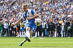 Lee Mansell of Bristol Rovers scores the winning penalty in a penalty shooot out during the 2015 Vanarama Conference Promotion Final match between Grimsby Town and Bristol Rovers at Wembley Stadium, London<br /> Picture by David Horn/eXtreme aperture photography +44 7545 970036<br /> 17/05/2015