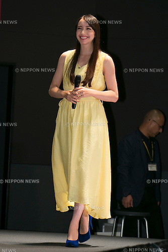 """Actress Ellie Toyota attends the talk show of the mystery drama """"Wayward Pines"""" at the United Cinemas in Toyosu area on May 21, 2015, Tokyo, Japan. Dillon and Shyamalan are in Japan to promote simultaneous worldwide launch of the mystery drama through the FOX channel. Wayward Pines is an American television series based on the novel Pines by Blake Crouch. (Photo by Rodrigo Reyes Marin/AFLO)"""