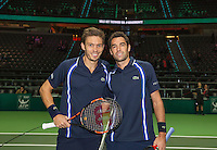 Rotterdam, The Netherlands, Februari 11, 2016,  ABNAMROWTT, Jeremy Chardy (FRA) and Nicolas Mahut (FRA) (R) at the net<br /> Photo: Tennisimages/Henk Koster
