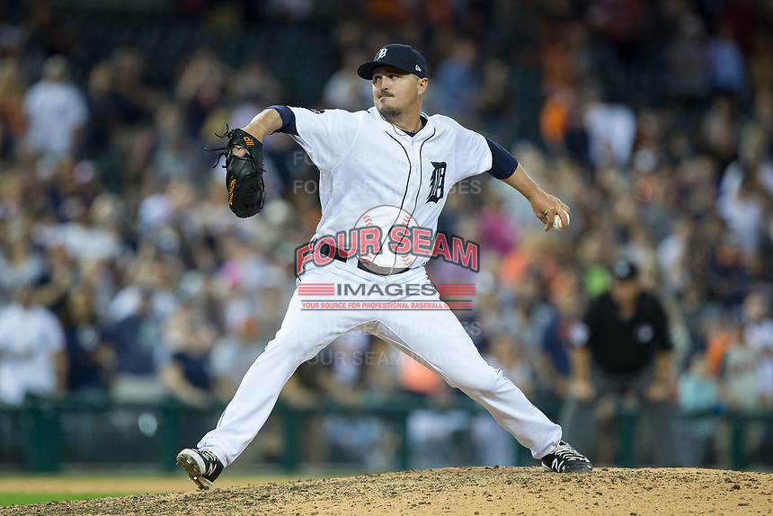 Detroit Tigers relief pitcher Blaine Hardy (36) in action against the Chicago White Sox at Comerica Park on June 2, 2017 in Detroit, Michigan.  The Tigers defeated the White Sox 15-5.  (Brian Westerholt/Four Seam Images)