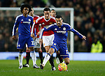 Pedro of Chelsea tussles with Ander Herrera of Manchester United - English Premier League - Manchester Utd vs Chelsea - Old Trafford Stadium - Manchester - England - 28th December 2015 - Picture Simon Bellis/Sportimage