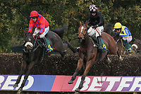 Race winner Romanesco ridden by Timmy Murphy (L) jumps alongside Court By Surprise ridden by Dougie Costello in the Kettle Chips Handicap Chase