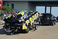 May 18, 2012; Topeka, KS, USA: NHRA funny car driver Tony Pedregon during qualifying for the Summer Nationals at Heartland Park Topeka. Mandatory Credit: Mark J. Rebilas-
