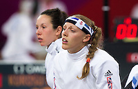 12 AUG 2012 - LONDON, GBR - Mhairi Spence (GBR) (right) of Great Britain and her team mate Samantha Murray wait for their next match during the women's London 2012 Olympic Games Modern Pentathlon fencing at The Copper Box in the Olympic Park, in Stratford, London, Great Britain (PHOTO (C) 2012 NIGEL FARROW)