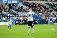 Swansea City's Bersant Celina holds his head in his hands after seeing his shot go wide<br /> <br /> Photographer Ian Cook/CameraSport<br /> <br /> The EFL Sky Bet Championship - Cardiff City v Swansea City - Sunday 12th January 2020 - Cardiff City Stadium - Cardiff<br /> <br /> World Copyright © 2020 CameraSport. All rights reserved. 43 Linden Ave. Countesthorpe. Leicester. England. LE8 5PG - Tel: +44 (0) 116 277 4147 - admin@camerasport.com - www.camerasport.com