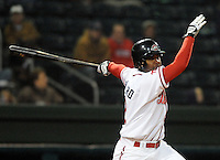 April 3, 2008: Yamaico Navarro (12) of the Greenville Drive, Class A affiliate of the Boston Red Sox, hits during the season opener against the Kannapolis Intimidators at Fluor Field at the West End in Greenville, S.C.   Photo by: Tom Priddy/Four Seam Images