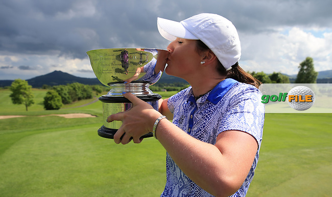She played her part; Olivia Mehaffey kissing the 2016 Curtis Cup, played at Dun Laoghaire GC, Enniskerry, Co Wicklow, Ireland. 12/06/2016. Picture: David Lloyd | Golffile. <br /> <br /> All photo usage must display a mandatory copyright credit to &copy; Golffile | David Lloyd.