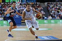 GB's Devon Van Oostrum leaves Marko Sutalo of Bosnia & Herzegovina during the EuroBasket 2015 2nd Qualifying Round Great Britain v Bosnia & Herzegovina (Euro Basket 2nd Qualifying Round) at Copper Box Arena in London. - 13/08/2014