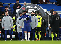 The Chelsea coaching staff embrace Gonzalo Higuain as he leaves the pitch at the end of the match after scoring two goals during Chelsea vs Huddersfield Town, Premier League Football at Stamford Bridge on 2nd February 2019