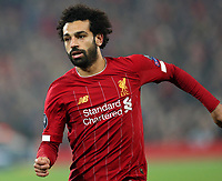 5th November 2019; Anfield, Liverpool, Merseyside, England; UEFA Champions League Football, Liverpool versus Genk; Mohammed Salah of Liverpool races after the ball  - Editorial Use