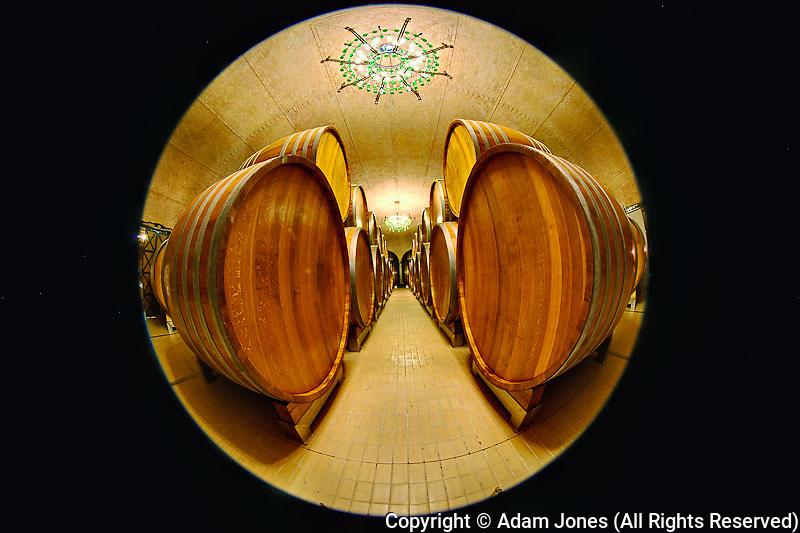 Fisheye view of underground wine barrel room, Castello Banfi, Montalcino, Italy