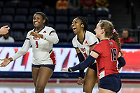 Liberty Women's Volleyball faces off against Florida Gulf Coast in Vines Center on October 12, 2018. (Photo by Joel Isimeme)