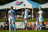 Washington Spirit defender Ali Krieger (11) goes up for a header with Sky Blue FC forward Danesha Adams (9). Sky Blue FC defeated the Washington Spirit 1-0 during a National Women's Soccer League (NWSL) match at Yurcak Field in Piscataway, NJ, on July 6, 2013.