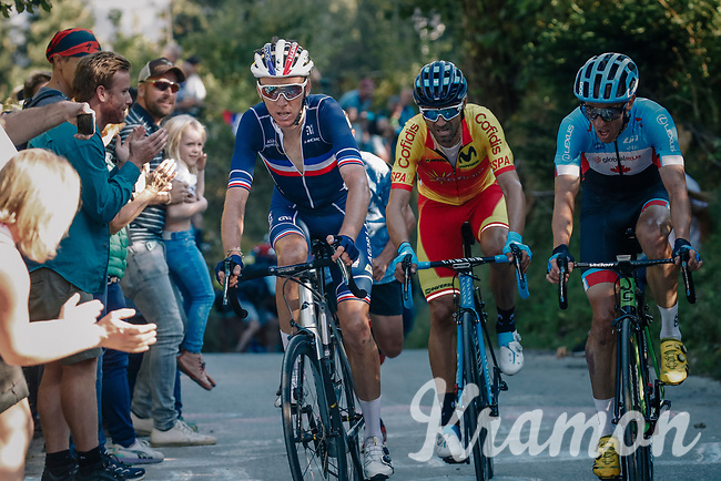 Michael Woods (CAN/EducationFirst-Drapac), Romain Bardet (FRA/AG2R-LaMondiale) & Alejandro Valverde (ESP/Movistar) atop the ridiculously steep Hôll Climb in the final lap<br /> <br /> MEN ELITE ROAD RACE<br /> Kufstein to Innsbruck: 258.5 km<br /> <br /> UCI 2018 Road World Championships<br /> Innsbruck - Tirol / Austria