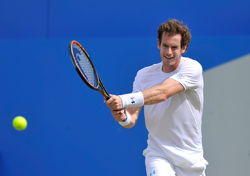 Andy Murray (GBR) in action today during his victory over Fernando Verdasco (ESP) in their Men&rsquo;s Singles Second Round match - Andy Murray (GBR) def Fernando Verdasco (ESP) 7-5, 6-4<br /> <br /> Photographer Ashley Western/CameraSport<br /> <br /> Tennis - ATP 500 World Tour - AEGON Championships- Day 4 - Thursday 18th June 2015 - Queen's Club - London <br /> <br /> &copy; CameraSport - 43 Linden Ave. Countesthorpe. Leicester. England. LE8 5PG - Tel: +44 (0) 116 277 4147 - admin@camerasport.com - www.camerasport.com